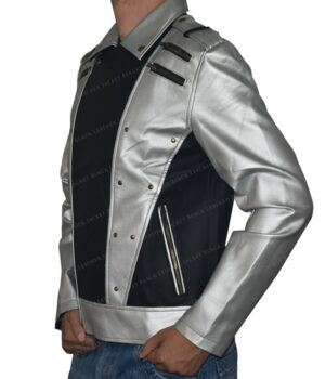 Quicksilver Black and Silver Leather Jacket Left