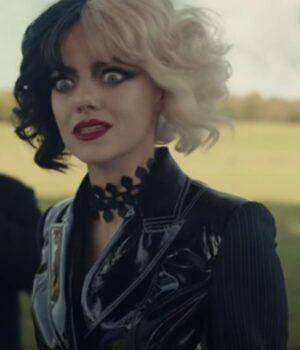 Cruella (2021) Emma Stone Black Leather Jacket