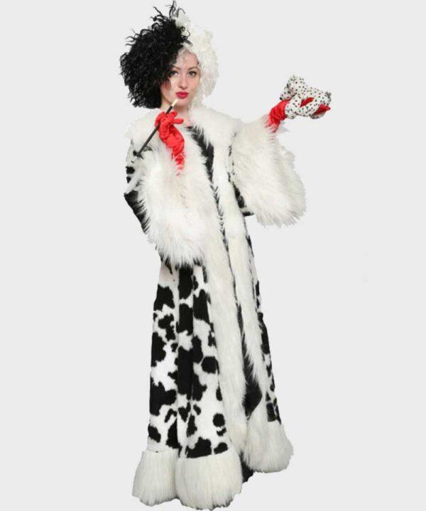 Cruella 2021 Black Dot White Shearling Fur Coat