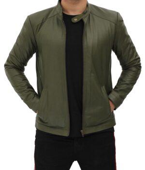 Men's Biker Real Leather Green Jacket