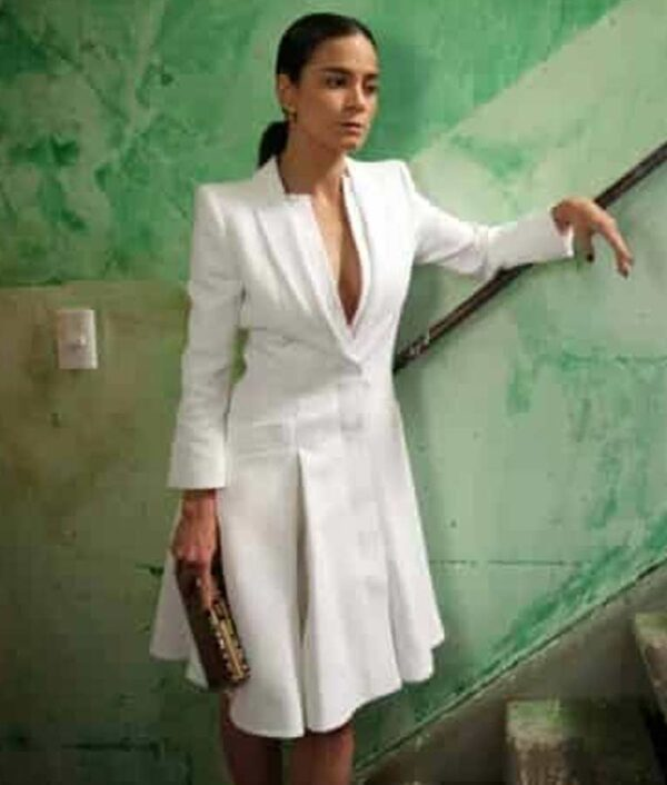 Queen of The South Alice Braga Wool White Coat