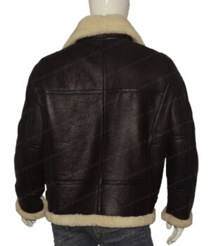 B3 Bomber RAF Aviator Flying Shearling Jacket Back