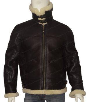 B3 Bomber RAF Aviator Flying Shearling Jacket Front