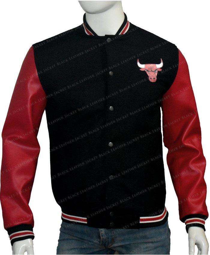 Chicago Bulls Red & Black Letterman Varsity Jacket Front