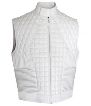 Justin Bieber White Quilted Faux Leather Vest Full