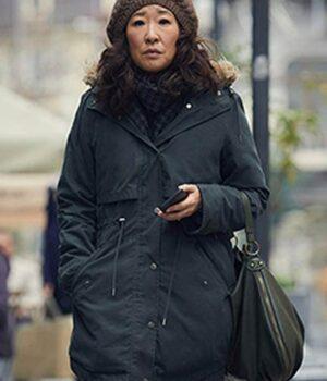 Killing Eve Sandra oh Cotton Black Coat