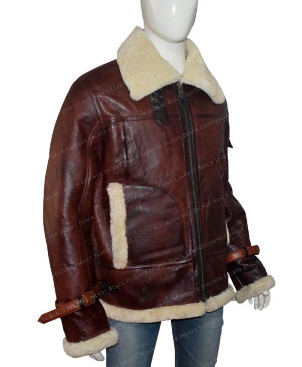 Mens Aviator RAF B3 Shearling Fur Brown Jacket