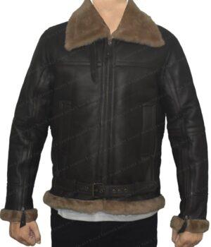 Men's B3 Aviator Sheepskin Dark Brown Leather Jacket