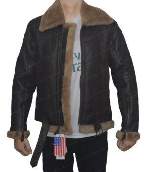 Men's B3 Aviator Sheepskin Dark Brown Leather Jacket Open