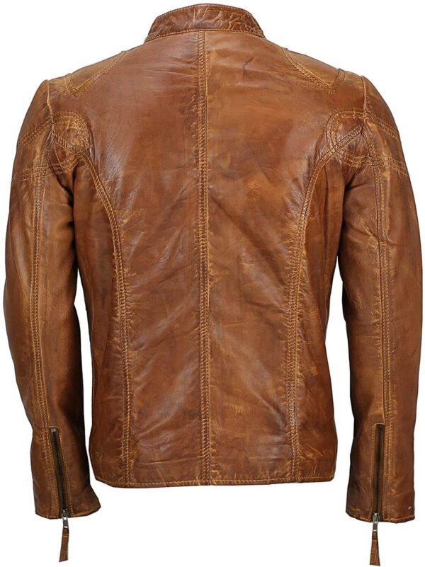 Men's Fitted Tan Brown Vintage Biker Leather Jacket Back