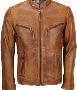 Men's Fitted Tan Brown Vintage Biker Leather Jacket Front