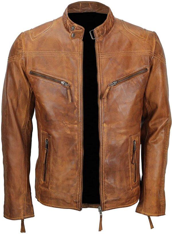 Men's Fitted Tan Brown Vintage Biker Leather Jacket Inside
