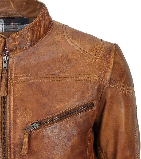 Men's Fitted Tan Brown Vintage Biker Leather Jacket Left Pocket