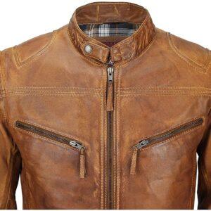 Men's Fitted Tan Brown Vintage Biker Leather Jacket Pockets