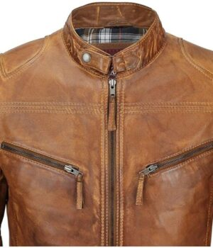 Men's Fitted Tan Brown Vintage Leather Biker Jacket Image