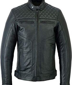 Mens Quilted Cafe Racer Biker Jacket