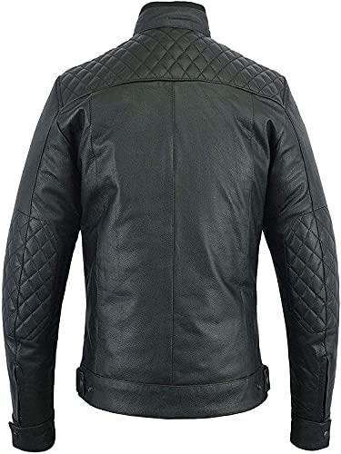 Mens Quilted Cafe Racer Biker Jacket Back