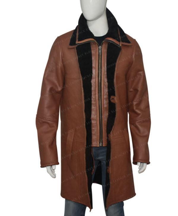 Mens RAF B3 Bomber Warm Duffle Brown Real Leather Coat