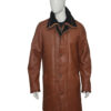 Mens RAF B3 Bomber Warm Duffle Brown Real Leather Coat Front Closed