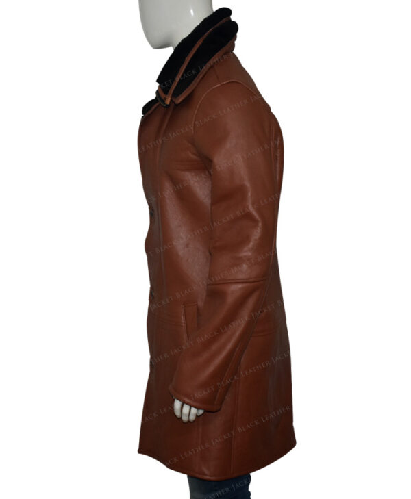 Mens RAF B3 Bomber Warm Duffle Brown Real Leather Coat Left