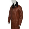 Mens RAF B3 Bomber Warm Duffle Brown Real Leather Coat Left Side View