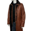 Mens RAF B3 Bomber Warm Duffle Brown Real Leather Coat Left View