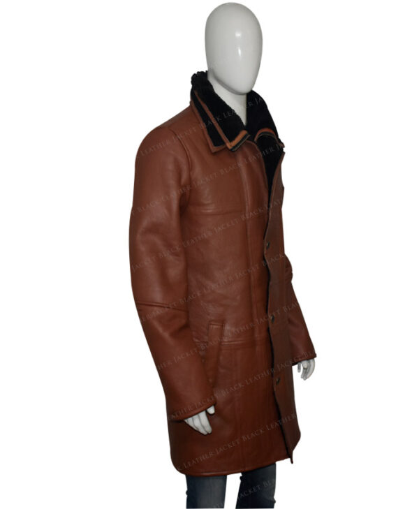 Mens RAF B3 Bomber Warm Duffle Brown Real Leather Coat Right View