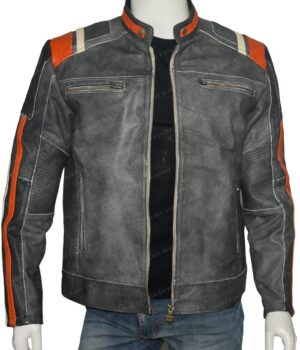 Mens Retro 3 Cafe Racer Biker Vintage Jacket