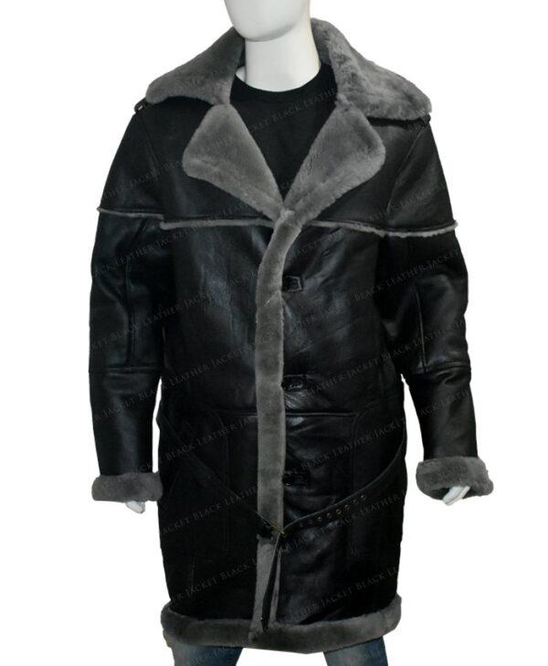 Mens Shearling Fur Collar Sheepskin Leather Coat