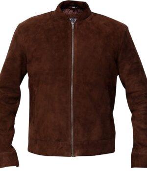 Mens Slim Fit Biker Coffee Brown Jacket