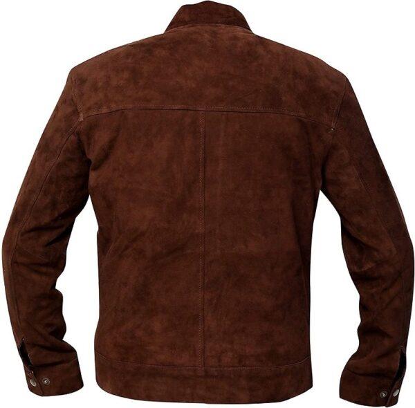 Mens Slim Fit Biker Coffee Brown Jacket Back