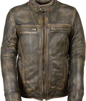 Mens Vintage Cafe Racer Motorcycle Distressed Leather Jacket