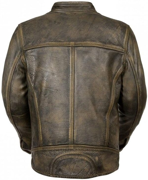 Mens Vintage Cafe Racer Motorcycle Distressed Leather Jacket Back