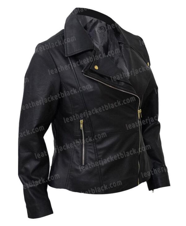 Women Slim Fit Biker Black Jacket