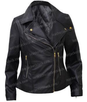Women Slim Fit Biker Style Real Leather Black Jacket