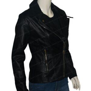 Women Slim Fit Moto Biker Style Jacket Right Side