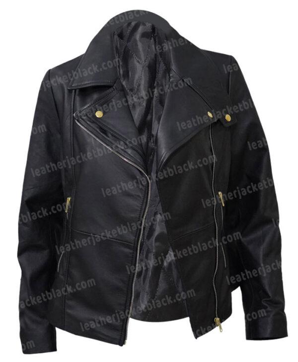 Women Slim Fit Moto Leather Black Jacket