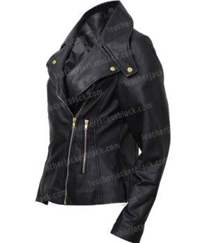 Women Slim Fit Motorcycle Leather Jacket
