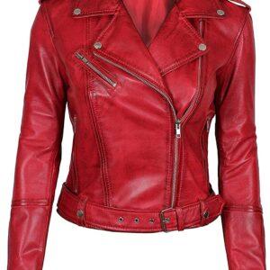 Women's Lambskin Leather Red Negan Biker Jacket