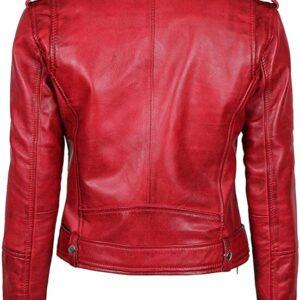 Women's Lambskin Leather Red Negan Biker Jacket Back