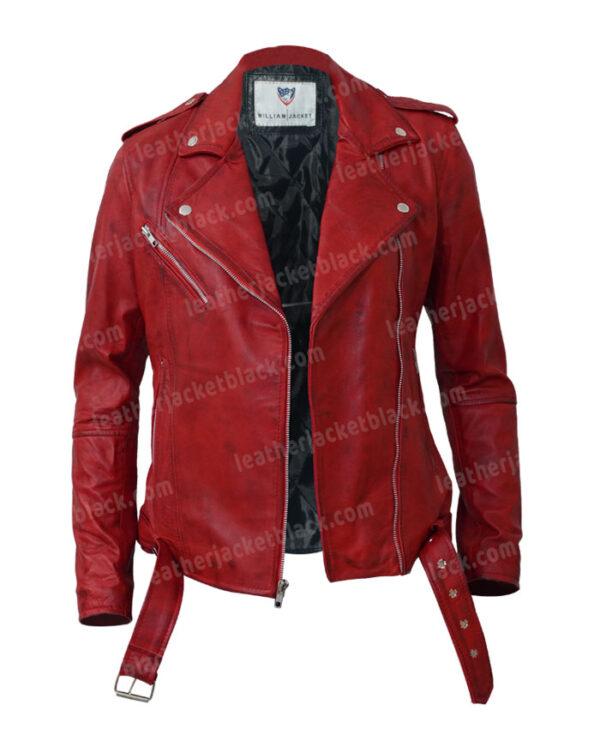 Women's Lambskin Leather Red Negan Moto Biker Jacket