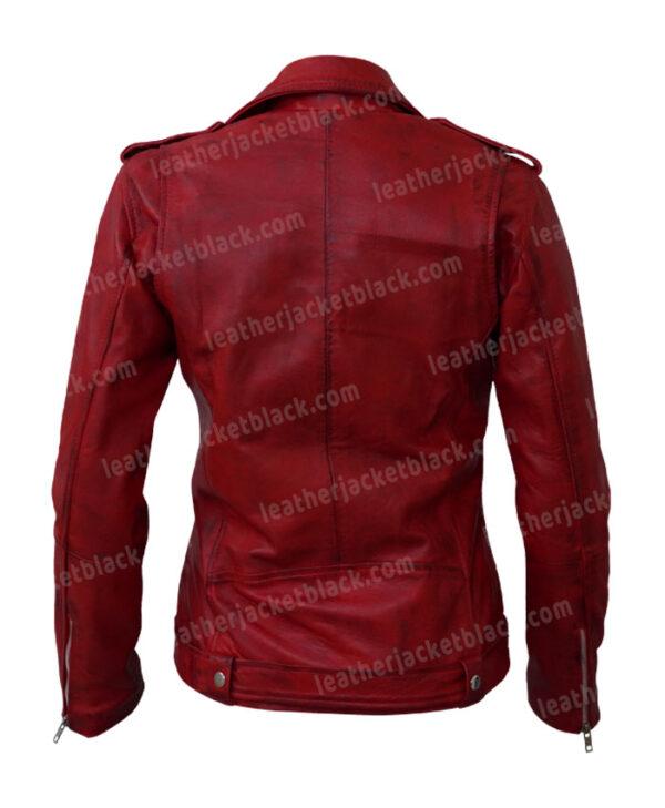 Women's Lambskin Leather Red Negan Moto Biker Jacket Back