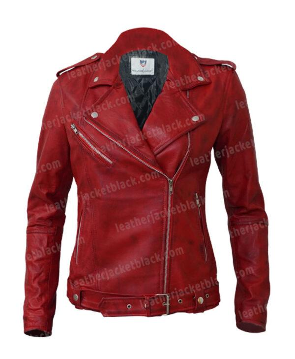 Women's Lambskin Leather Red Negan Moto Biker Jacket Front