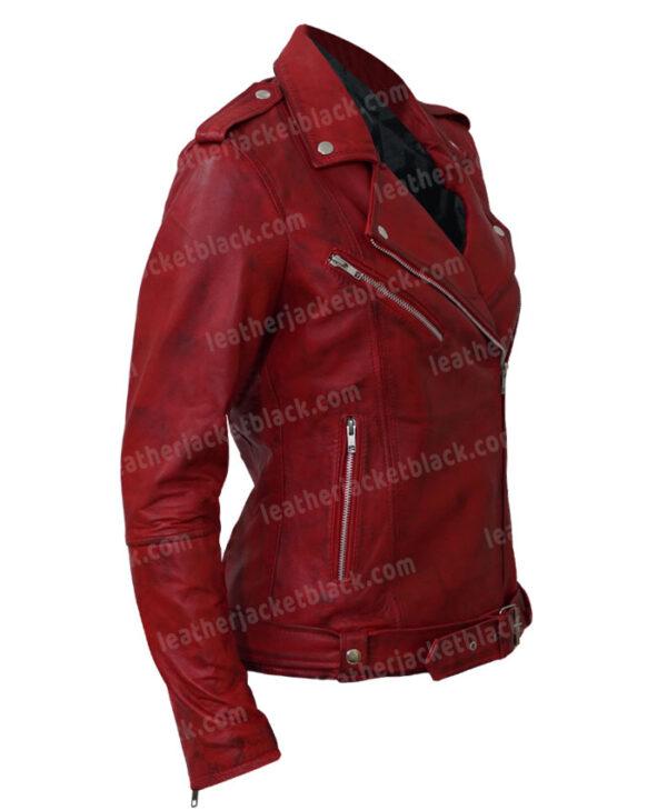 Women's Lambskin Leather Red Negan Moto Biker Jacket Side