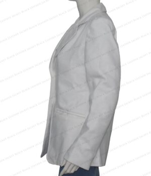 Women's White Wool Blend Blazer Coat Left
