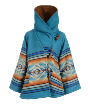 Yellowstone Beth Dutton Blue Blanket Hoodie Coat Front