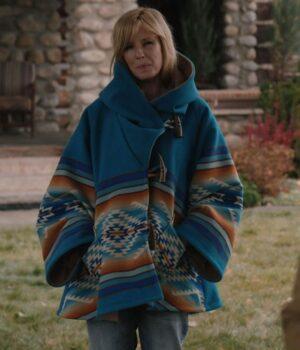 Yellowstone Beth Dutton Blue Blanket Hoodie Coat Full