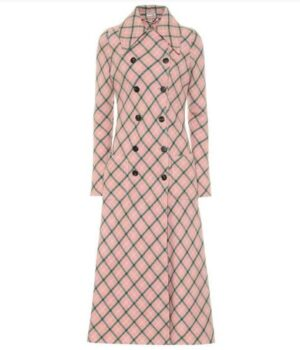 Younger S07 Lauren Heller Pink Checked Wool Coat Front