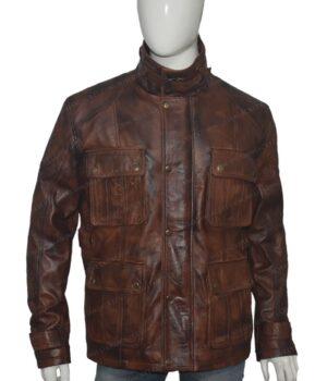 Men's Vintage Motorcycle Brown Distressed Leather Jacket