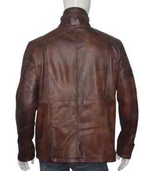 Men's Vintage Motorcycle Brown Distressed Leather Jacket 5